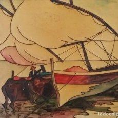 Varios objetos de Arte: LA PESCA DE BOU VALENCIANA - PINTURA CUERDA SECA. Lote 97846615