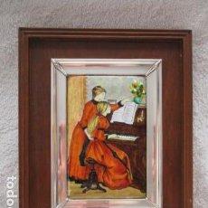 Varios objetos de Arte: ESMALTE AL FUEGO REPRODUCCION OBRA RENOIR ENMARCADO EN PLATA DE LEY (MITAD DEL SIGLO XX). Lote 98090419