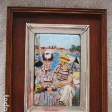 Varios objetos de Arte: ESMALTE AL FUEGO REPRODUCCION OBRA MANET ENMARCADO EN PLATA DE LEY (MITAD DEL SIGLO XX) . Lote 98118655