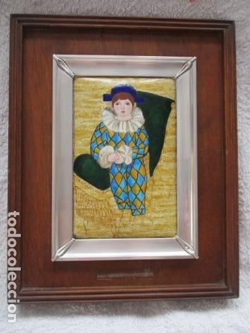 ESMALTE AL FUEGO ENMARCADO EN PLATA DE LEY (MITAD DEL SIGLO XX) (Arte - Varios Objetos de Arte)