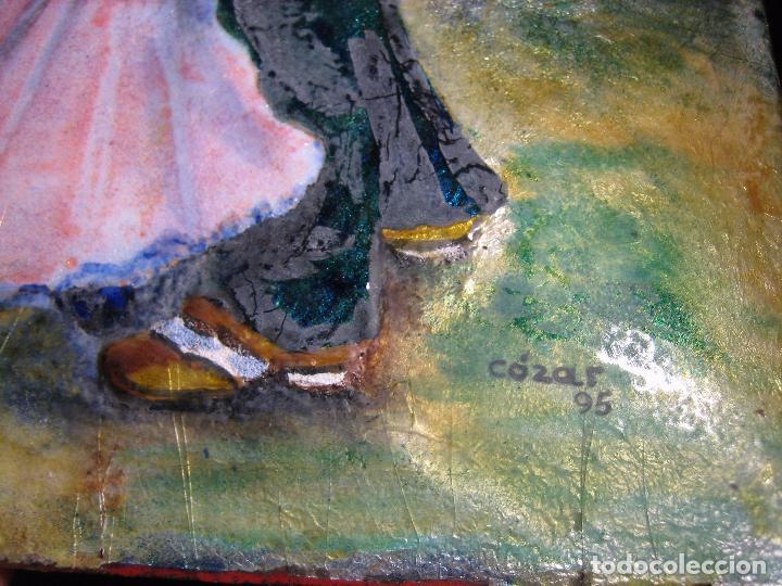 Varios objetos de Arte: PINTURA ANTIGUA OBRA EN COBRE Y PORCELANA ORIGINAL DEL PINTOR COZAR - Foto 9 - 96413159
