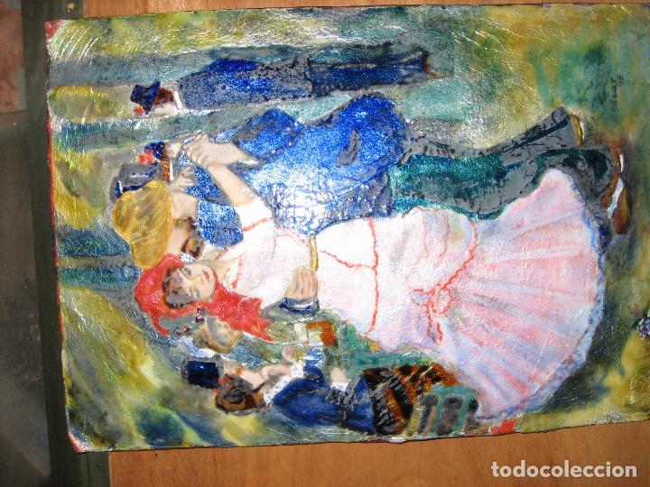 Varios objetos de Arte: PINTURA ANTIGUA OBRA EN COBRE Y PORCELANA ORIGINAL DEL PINTOR COZAR - Foto 13 - 96413159
