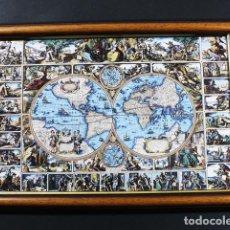 Varios objetos de Arte: CUADRO RUSTICO CERAMICA CON MARCO DE MADERA 23 X 33 CM 860 GR KERALSA DEDICADO A EL MUNDO MAPA MUNDI. Lote 100087583
