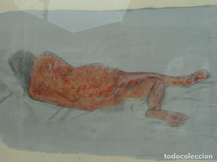 Varios objetos de Arte: Acrílico sobre papel Desnudo - Siglo XX - Foto 2 - 100939175