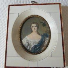 Varios objetos de Arte: MINIATURA PINTADA A MANO SOBRE MARFIL. CON MARCO ORIGINAL DE MARFIL.. Lote 146088006