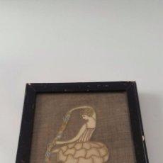 Varios objetos de Arte: BONITO ENCAJE DE UNA MUJER BAILANDO - FIRMADO Y FECHADO 1914. Lote 102014215