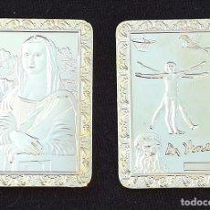 Varios objetos de Arte: LINGOTE MONEDA CONMEMORACION AL POLIFACÉTICO LEONARDO DA VINCI Y GIOCONDA EN RELIEVE. Lote 143172400