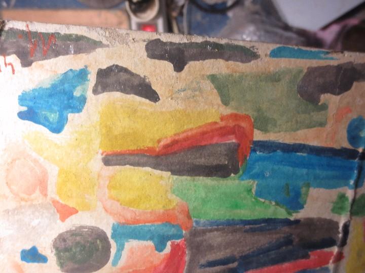 Varios objetos de Arte: PINTURA ANTIGUA ACUARELA EN CARTON ABSTRACTO FIRMA INICIAL DETERIORADO - Foto 2 - 57080768