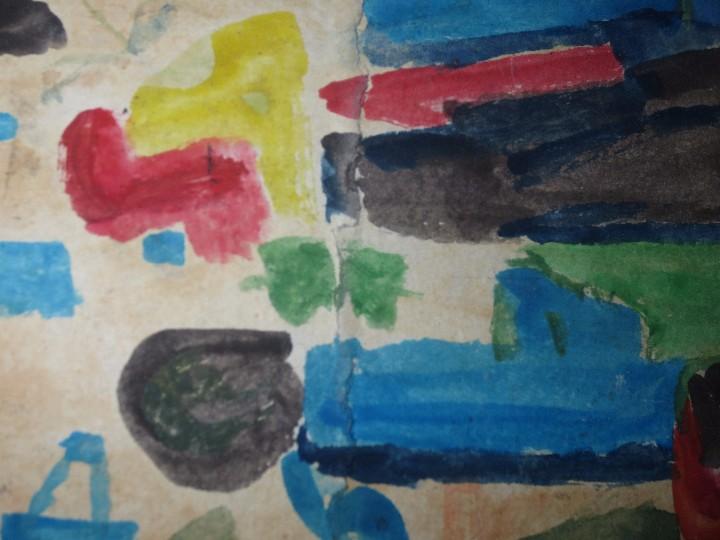 Varios objetos de Arte: PINTURA ANTIGUA ACUARELA EN CARTON ABSTRACTO FIRMA INICIAL DETERIORADO - Foto 4 - 57080768