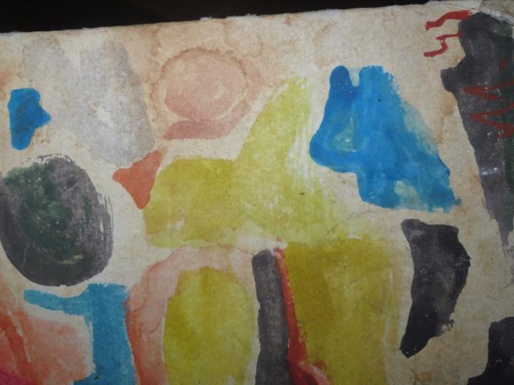 Varios objetos de Arte: PINTURA ANTIGUA ACUARELA EN CARTON ABSTRACTO FIRMA INICIAL DETERIORADO - Foto 5 - 57080768