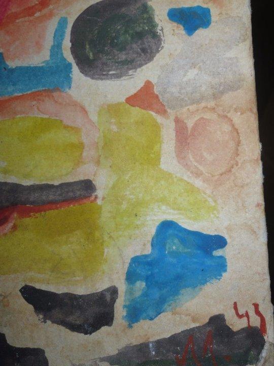 Varios objetos de Arte: PINTURA ANTIGUA ACUARELA EN CARTON ABSTRACTO FIRMADO CON INICIAL - Foto 4 - 57080768