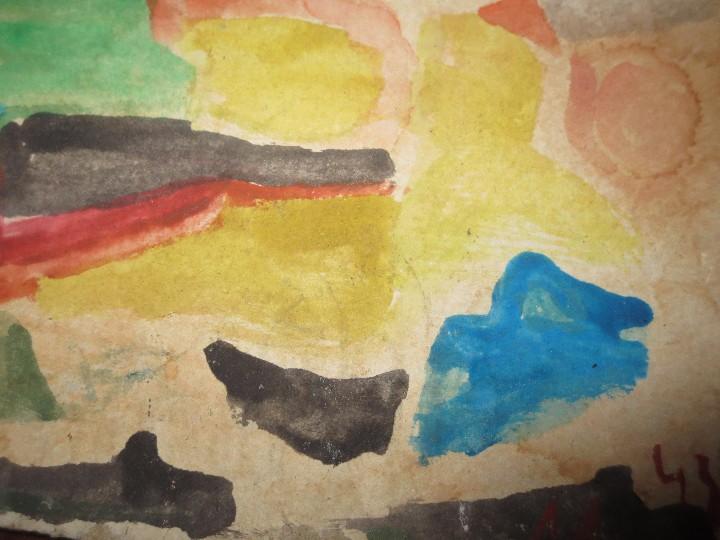 Varios objetos de Arte: PINTURA ANTIGUA ACUARELA EN CARTON ABSTRACTO FIRMA INICIAL DETERIORADO - Foto 6 - 57080768