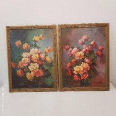 Varios objetos de Arte: PAREJA CUADROS FLORES. Lote 104541623