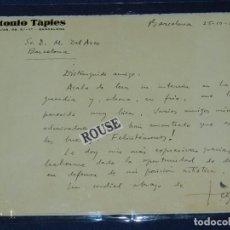 Varios objetos de Arte: (M) CARTA ORIGINAL DE ANTONIO TAPIES A D. MANUEL DEL ARCO EN BARCELONA 1955 , ORIGINAL. Lote 104712975