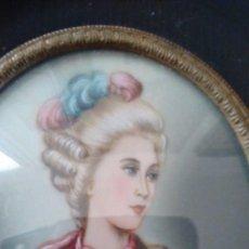 Varios objetos de Arte: MINIATURA FIRMADA SOBRE MARFIL. RETRATO DE DAMA TIPO FINALES DEL SIGLO XVIII. Lote 105973339