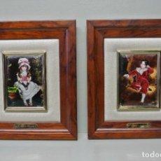 Varios objetos de Arte: DOS CUADROS, PAREJA . AUTENTICOS ESMALTES AL FUEGO. Lote 106600367