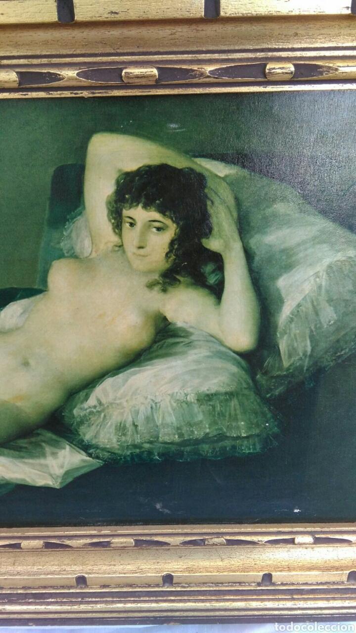 Varios objetos de Arte: La maja desnuda cuadro de grandes dimensiones marco de madera 97 cm x 59 cm Goya - Foto 2 - 106631055