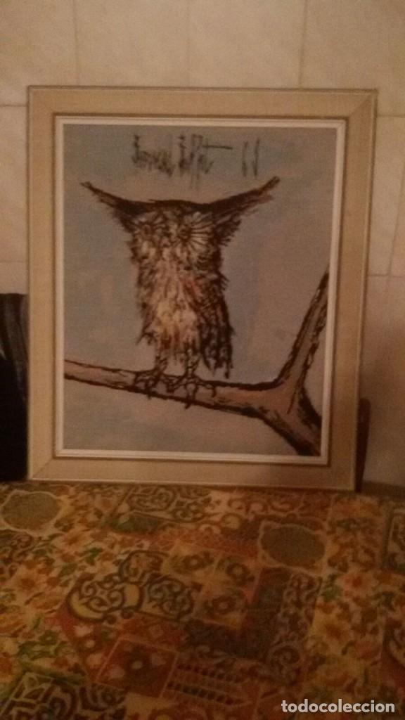 Varios objetos de Arte: precioso cuadro hecho en punto de cruz,búho,firmado por el autor. - Foto 5 - 106750727