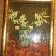 Varios objetos de Arte: SANSANO ANTIGUA PINTURA OLEO FIRMA SANSANO 1950 PINTADO EN TABLA DE LA DECORADORA ALICANTE. Lote 107778831
