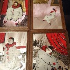 Varios objetos de Arte: LOTE 4 CUADROS ARLEQUÍN SERIGRAFIADOS SOBRE ESPEJO. Lote 105584771