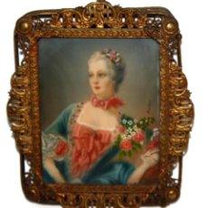 Varios objetos de Arte: PRECIOSA MINIATURA PINTADA SOBRE MARFIL FIRMADA BOUCHER. SIGLO XVIII-XIX. Lote 109414063