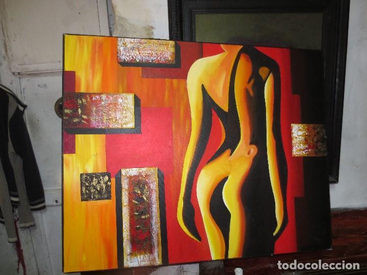 DESNUDO FEMENINO OLEO ORIGINAL EN LIENZO 90 X 75 PINTURA VANGUARDISTA AUTOR POR ESTUDIAR (Arte - Varios Objetos de Arte)