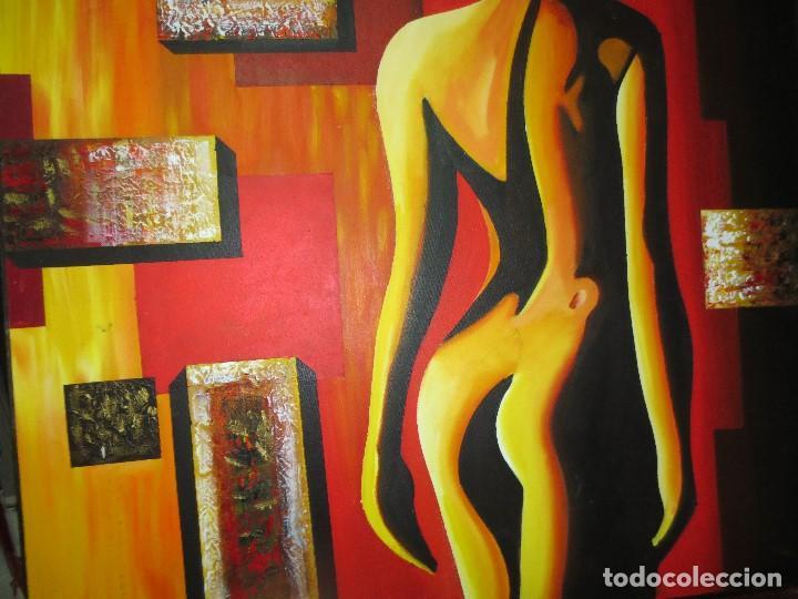 Varios objetos de Arte: desnudo FEMENINO oleo ORIGINAL EN lienzo 90 X 75 pintura vanguardista autor por estudiar - Foto 2 - 110084379