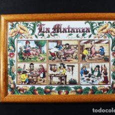 Varios objetos de Arte: CUADRO RUSTICO CERAMICA CON MARCO DE MADERA 23 X 33 CM 860 GR KERALSA DEDICADO A LA MATANZA, MATACIA. Lote 110096795