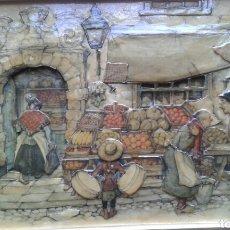 Varios objetos de Arte: CUADRO EN RELIEVE CON LAMINAS DE ANTON PIECK. Lote 110106556