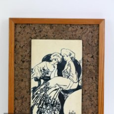 Varios objetos de Arte: PLACA DE METAL ESMALTADA CON OBRA MODERNISTA DE FRANCESC LABARTA / LATA - MARCO MADERA. Lote 110535415
