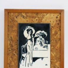 Varios objetos de Arte: PLACA DE METAL ESMALTADA CON OBRA MODERNISTA DE FRANCESC LABARTA / LATA - MARCO MADERA. Lote 110535579