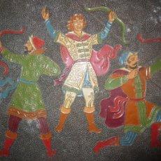 Varios objetos de Arte: ANTIGUA PINTURA ESMALTADA EN COBRE GUERREROS ARQUEROS. Lote 111106787