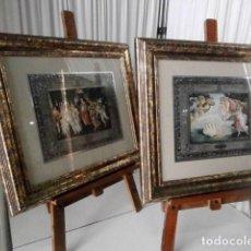 Varios objetos de Arte: PAREJA DE DOS CUADROS LAMINAS BOTTICELLI ENMARCADAS CON PASPARTU. Lote 111428579
