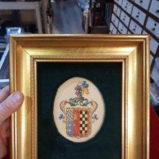 Varios objetos de Arte: CUADRO ESCUDO DE ARMAS PINTADO A MANO. Lote 113015884