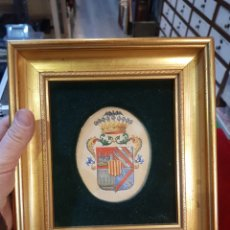 Varios objetos de Arte: CUADRO ESCUDO DE ARMAS PINTADO A MANO. Lote 113015956