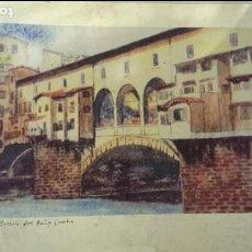 Varios objetos de Arte: LAMINA FLORENCIA, PUENTE VIEJO, ORIGINAL ITALIANA. Lote 113380783