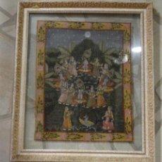 Varios objetos de Arte: CUADRO DE SEDA INDIA PINTADO A MANO.ESCENAS DE CELEBRACIÓN DE FIESTAS. Lote 113515687