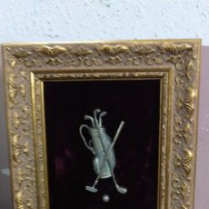 Varios objetos de Arte: PRECIOSO CUADRO SOBRE GOLF EN PLATA 925. Lote 114158491