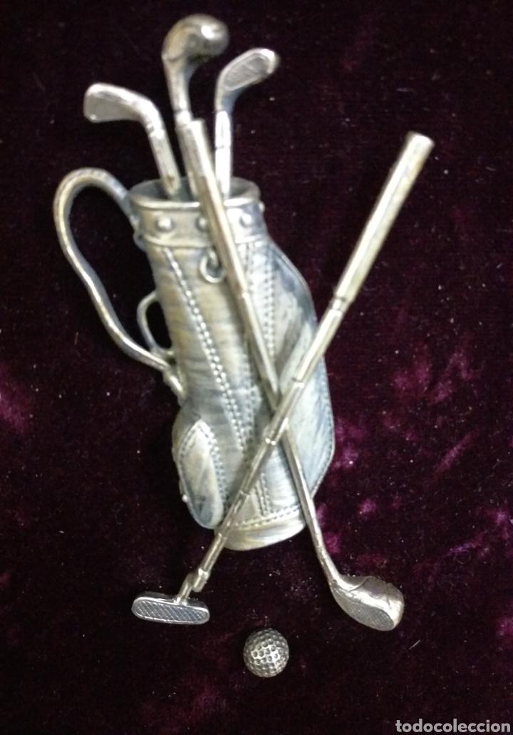 Varios objetos de Arte: Precioso cuadro sobre golf en plata 925 - Foto 2 - 114158491