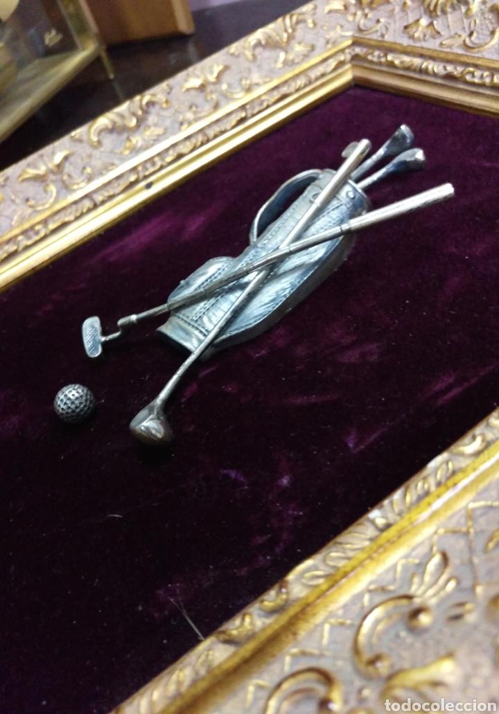 Varios objetos de Arte: Precioso cuadro sobre golf en plata 925 - Foto 4 - 114158491