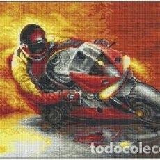 Varios objetos de Arte: MOTO - CUADRO BORDADO A PUNTO DE CRUZ. Lote 114606987