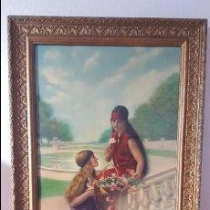 Varios objetos de Arte: CUADRO MARCO PINTURA ROMANTICA. FIRMADO LACROIX GENEVE MEDIDAS 68 X 38 CM. AÑOS 20.. Lote 114823079