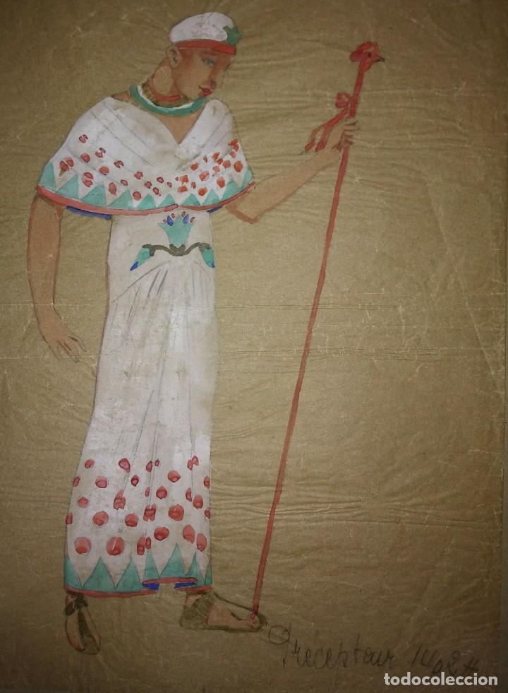 Preciosa colección de 13 figurines de teatro pintados a mano sobre papel cebolla marrón