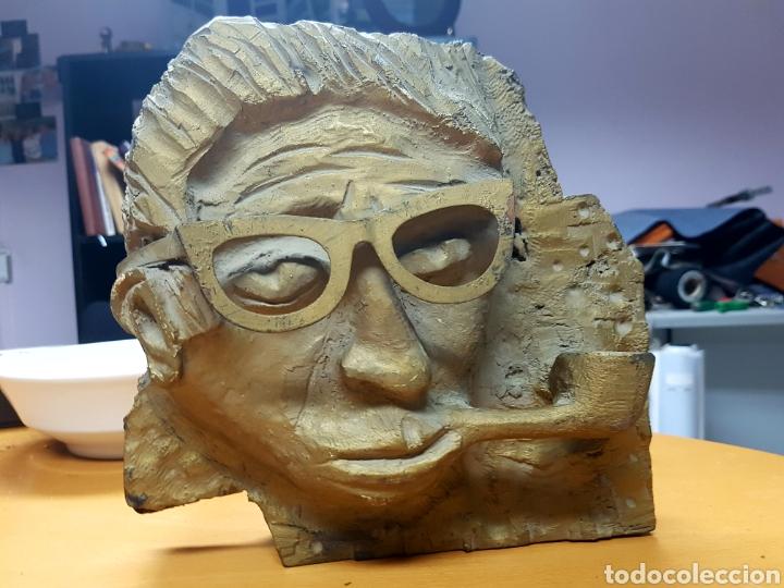 Varios objetos de Arte: Rara escultura, cara con gafas y pipa. 26x27cm aprox - Foto 2 - 114843602