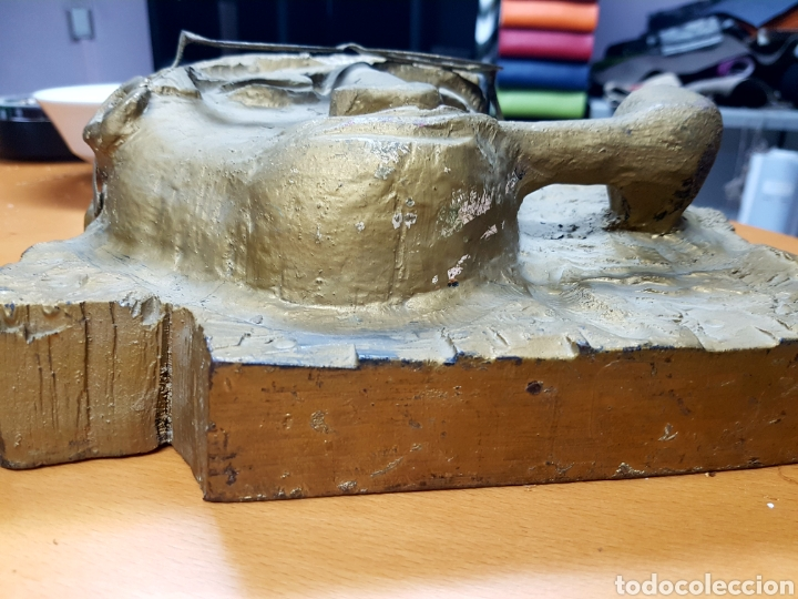 Varios objetos de Arte: Rara escultura, cara con gafas y pipa. 26x27cm aprox - Foto 3 - 114843602