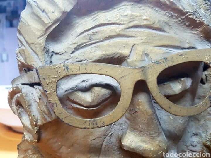 Varios objetos de Arte: Rara escultura, cara con gafas y pipa. 26x27cm aprox - Foto 4 - 114843602