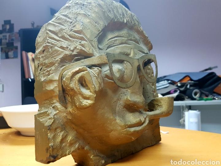 Varios objetos de Arte: Rara escultura, cara con gafas y pipa. 26x27cm aprox - Foto 12 - 114843602