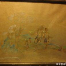 Varios objetos de Arte: CARRERA MILITAR ACUARELA ORIGINAL AÑOS 40 ATLETAS ESCUDO DE AGUILA EN CAMISETA. Lote 115488811