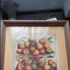 Varios objetos de Arte: MARCO DE MADERA CON LÁMINAS DE FRUTAS. Lote 114398635