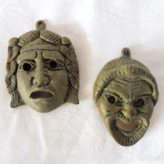 Varios objetos de Arte: DOS MÁSCARITAS EN BRONCE MUY ANTIGUAS DE 8CM. Lote 115516755